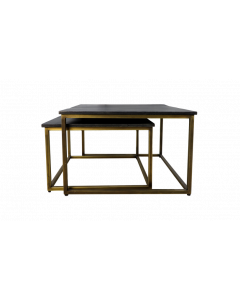 COFFEE TABLE S/2 70/60CM BLACK-GOLD