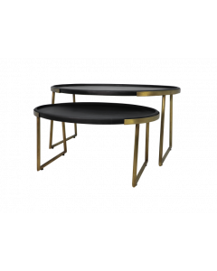 COFFEE TABLE S/2 OVAL BLACK-GOLD