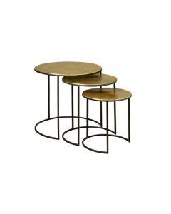 COFFEE TABLE S/3 ALU GOLD TOP